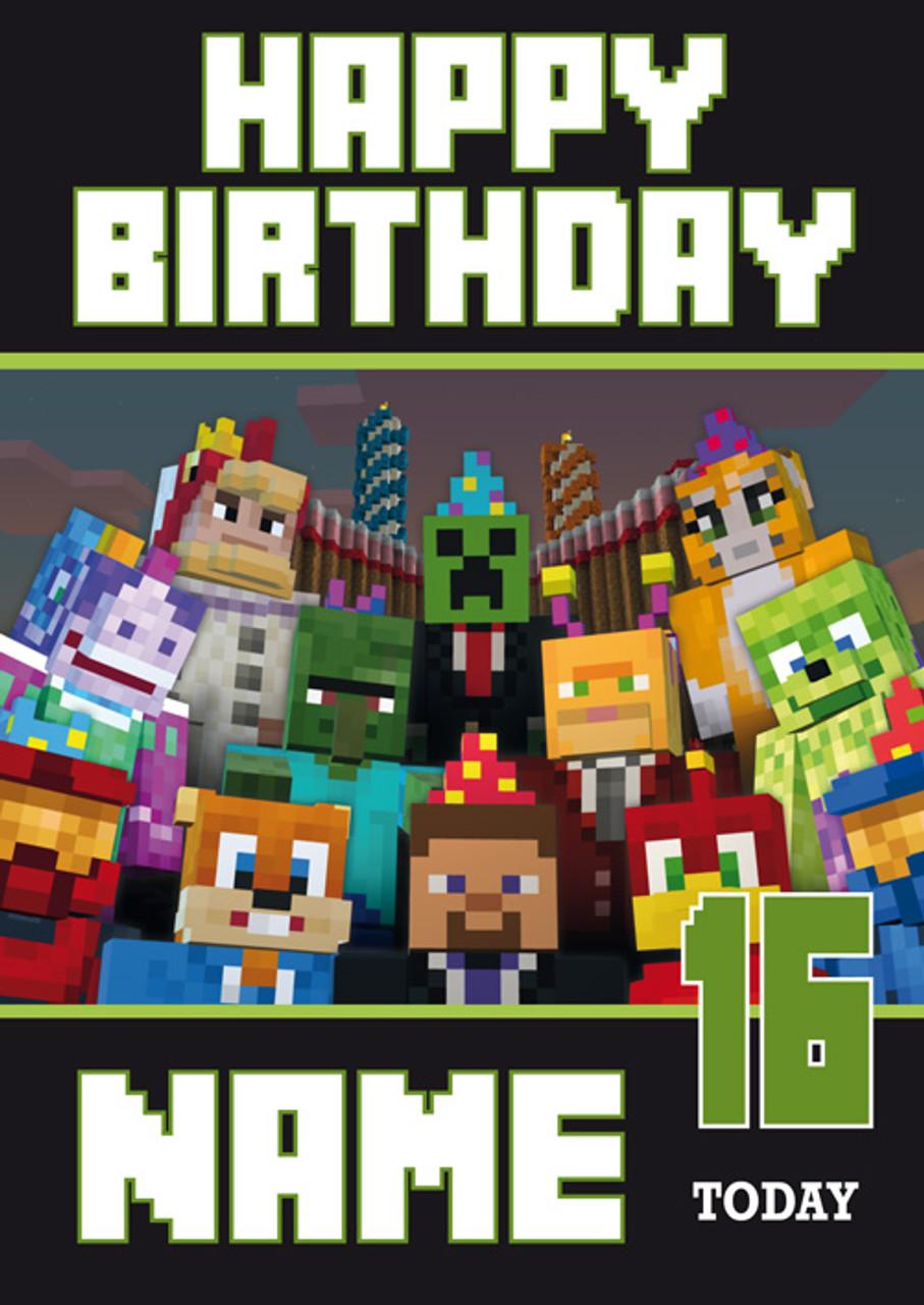Minecraft New Design 3 Personalised Birthday Card - Celebrity