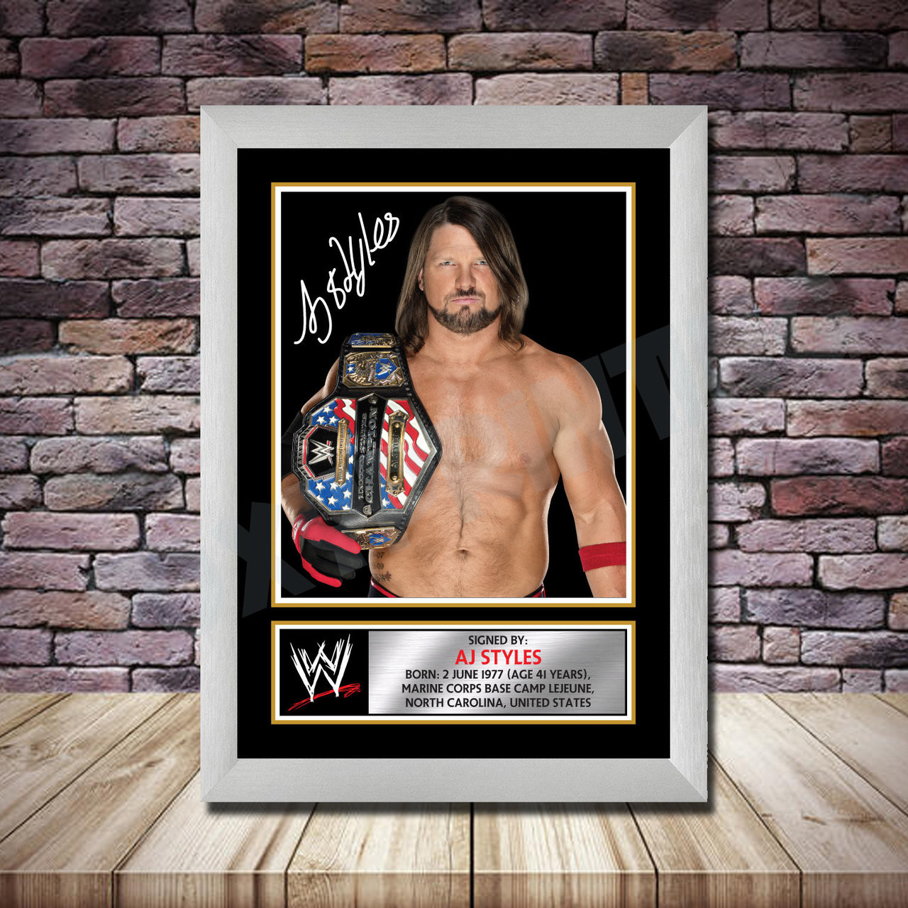 Signed WWE AJ STYLES Wrestling Photo Print A4 A3 A2 A1 Autographed Photo Framed