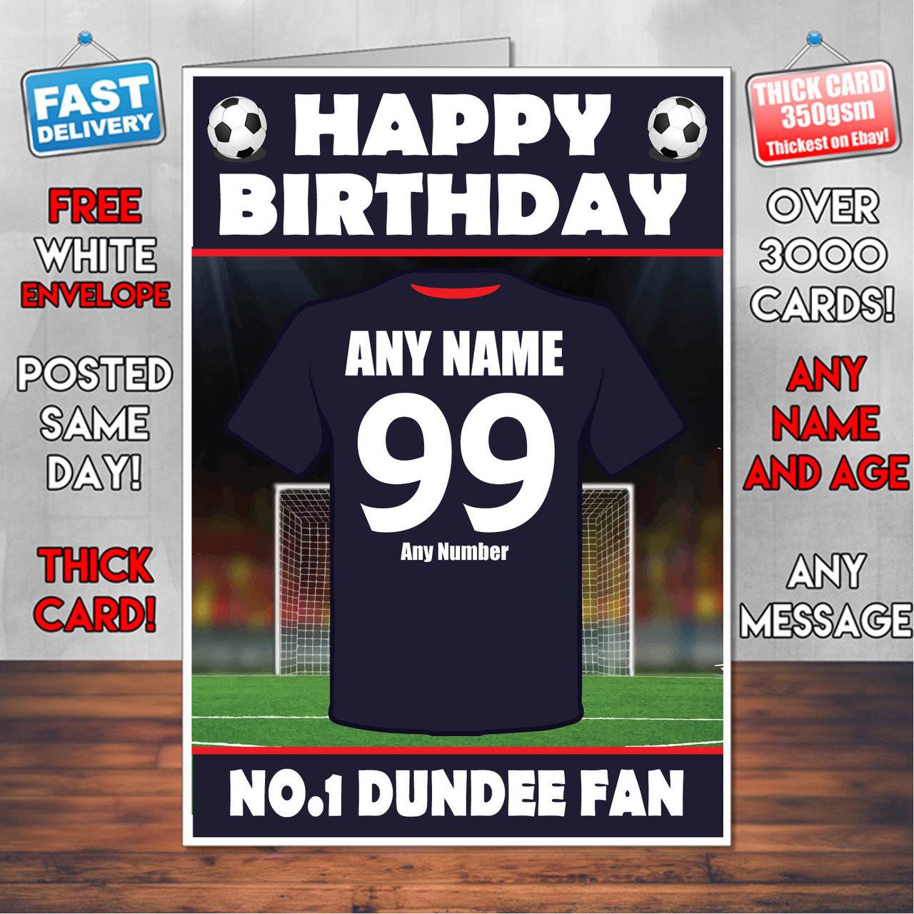 Personalised Dundee Football Fan Birthday Card