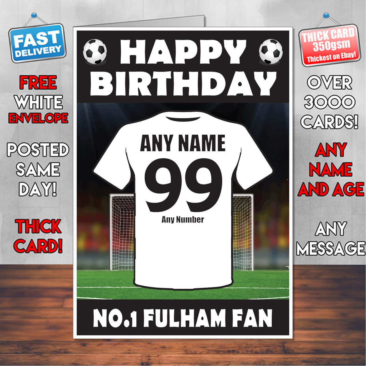 any name//number FULHAM FOOTBALL FAN Personalised Birthday Card! COOL CARD !
