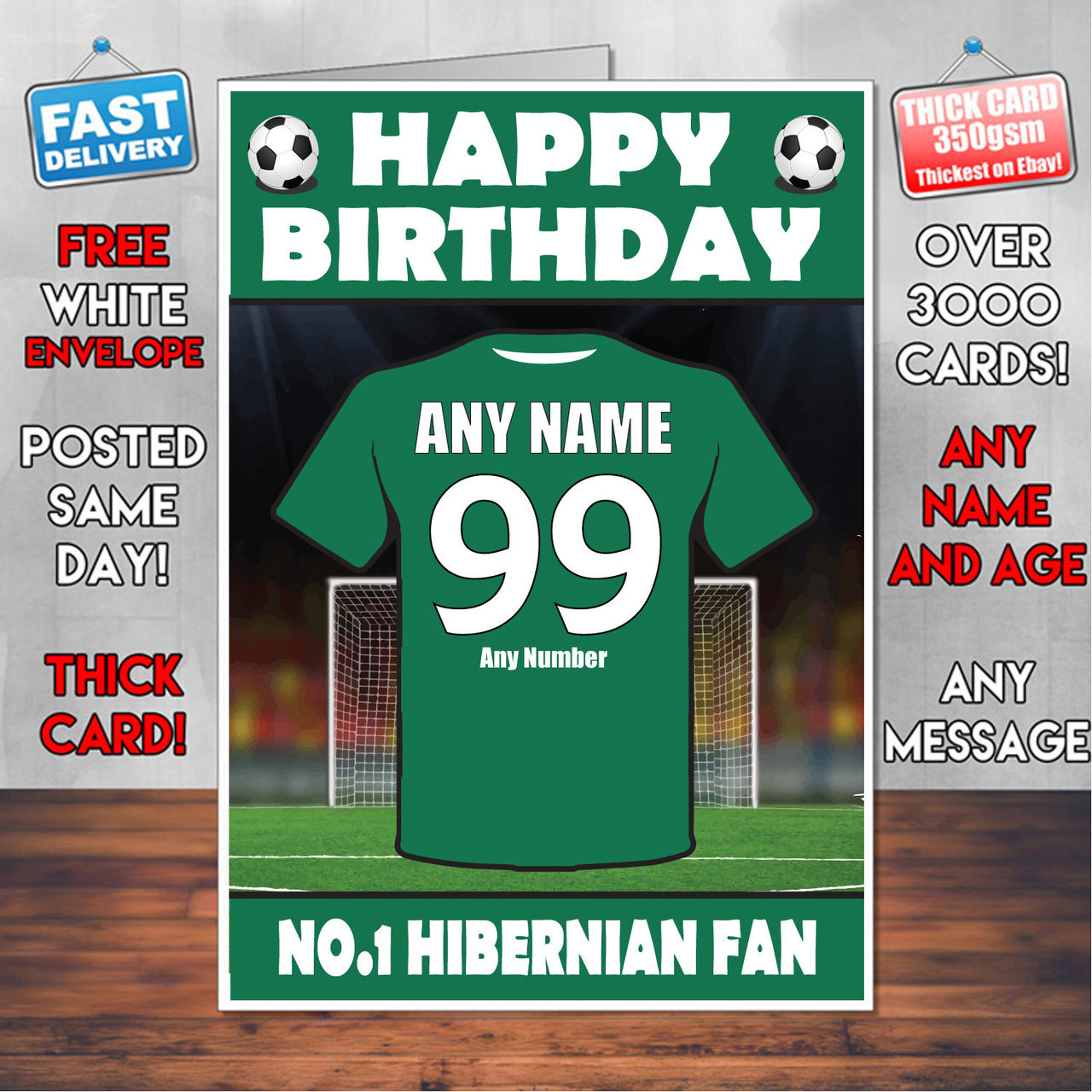Remarkable Personalised Hibernian Football Fan Birthday Card Soccer Team Funny Birthday Cards Online Sheoxdamsfinfo