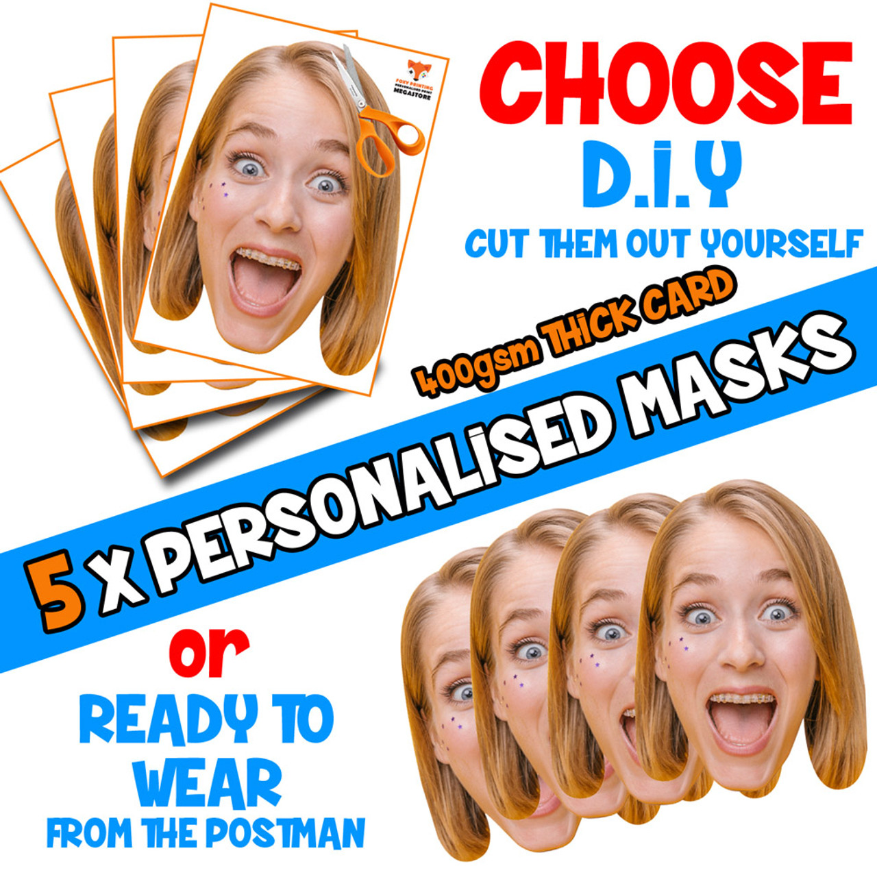 Face Masks Photo DIY KITS Personalised For Hen Parties Birthdays Stag Party/&