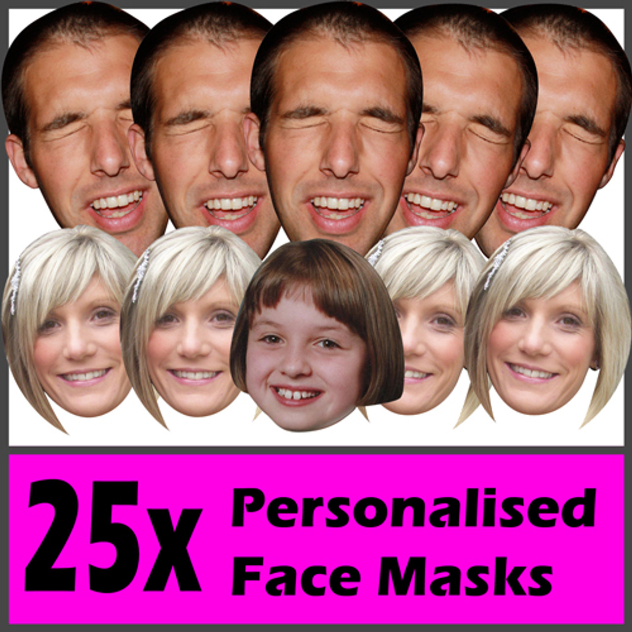 10 PACK PERSONALISED PHOTO FACE MASK KITS FOR STAG /& HEN NIGHT BIRTHDAY PARTY !