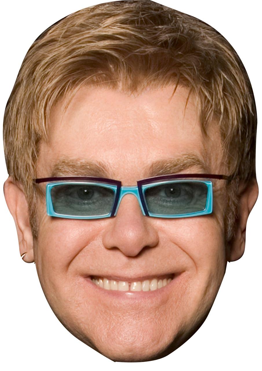Celebrity Mask Elton John Glasses Card Face and Fancy Dress Mask