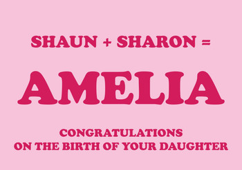 Shaun Plus Sharon Equals Amelia Birthday Card