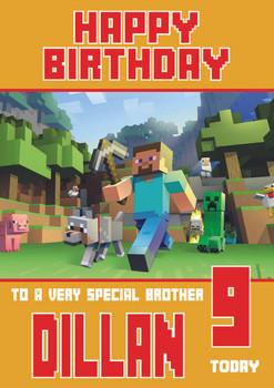 Minecrafting Theme Brother Birthday Card