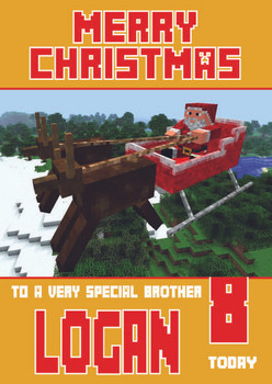 Minecrafting Theme Brother Christmas Card