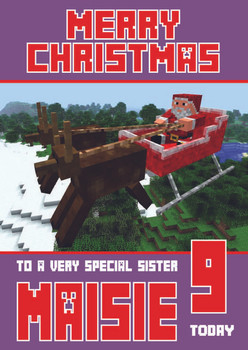 Minecrafting Theme Sister Christmas Card