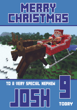Minecrafting Theme Nephew Christmas Card