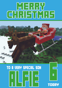 Minecrafting Theme Son Christmas Card