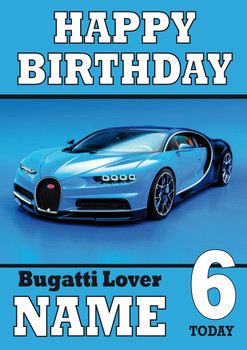Personalised Bugatti Sports Car Birthday Card