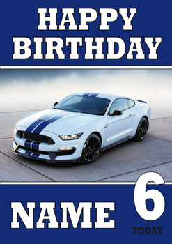 Personalised Mustang Sports Car Birthday Card