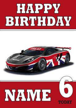 Personalised Gb Sports Car Birthday Card