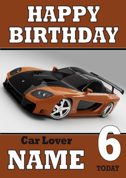 Personalised Car Lover 5 Birthday Card