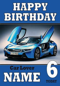 Personalised Car Lover 6 Birthday Card
