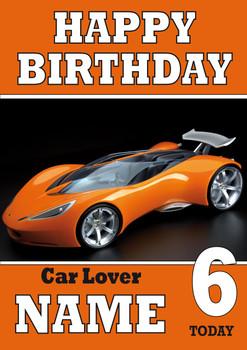 Personalised Car Lover 7 Birthday Card