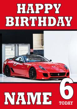 Personalised Ferrari 2 Birthday Card