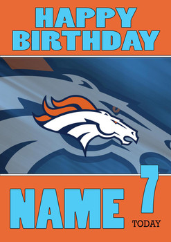 Personalised Denver Broncos Birthday Card