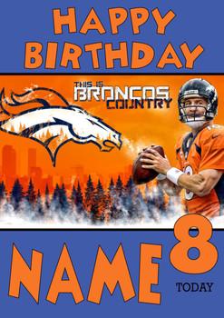 Personalised Denver Broncos Birthday Card 3