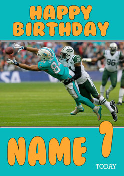 Personalised Miami Dolphins Birthday Card