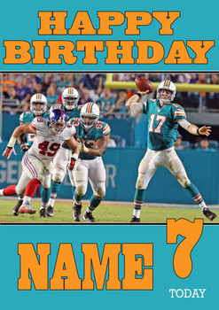 Personalised Miami Dolphins Birthday Card 2