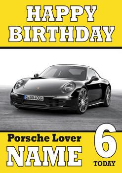 Personalised Porsche Black Birthday Card