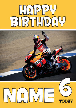 Personalised Bike Racer Birthday Card