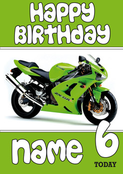 Personalised Kawasaki Bike Green Birthday Card