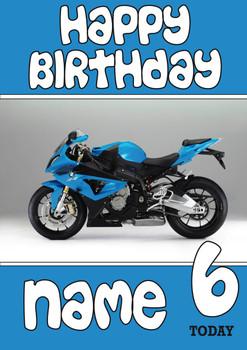 Personalised Blue Bike Birthday Card 2