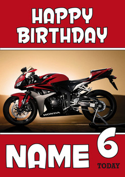 Personalised Honda Bike Red Birthday Card