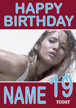 Personalised Jennifer Lawrence Birthday Card