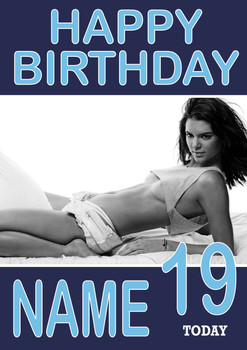 Personalised KE Designndall Jenner Birthday Card