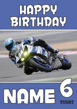 Personalised Yamaha Bike Racer Birthday Card