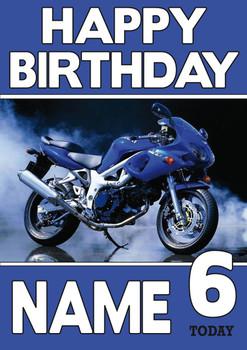 Personalised Suzuki Bike 2 Birthday Card