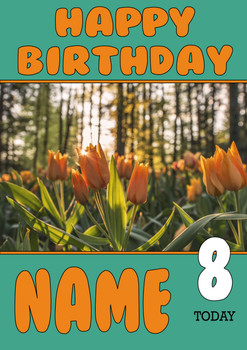 Personalised Orange Tulip Birthday Card