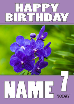Personalised Orchid Birthday Card