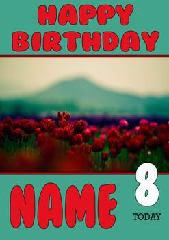 Personalised Tulip Birthday Card