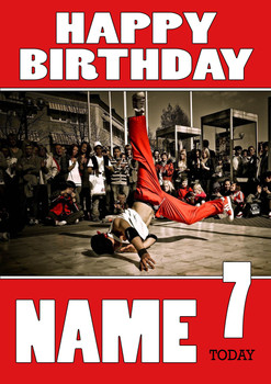 Personalised Breakdance 2 Birthday Card