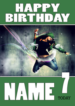 Personalised Breakdance 3 Birthday Card