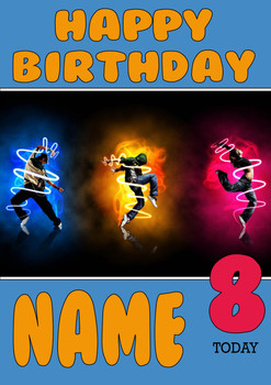 Personalised Breakdance 4 Birthday Card