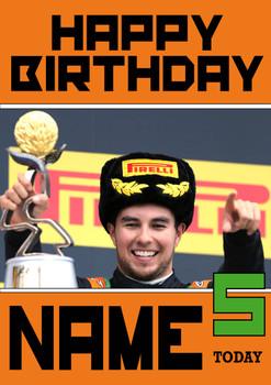 Personalised Sergio Perez Birthday Card 3