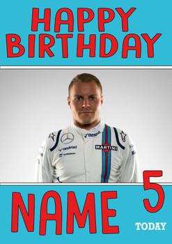 Personalised Valtteri Bottas Birthday Card