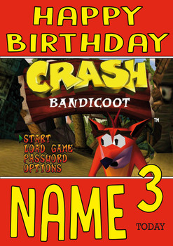 Retro Gaming Crash Bandicoot Personalised Card
