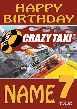 Retro Gaming Crazy Taxi Personalised Card