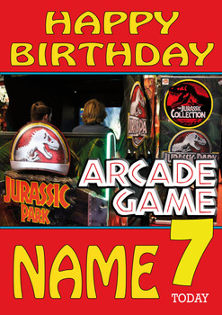 Retro Gaming Jurrassic Park Personalised Card