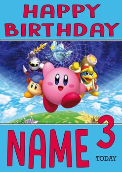 Retro Gaming Kirby Personalised Card