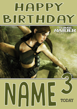 Retro Gaming Lara Croft Personalised Card