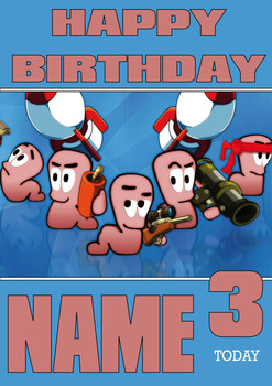 Retro Gaming Worms Personalised Card