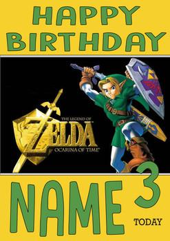 Retro Gaming Zelda Personalised Card