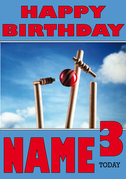Cricket Wicket Personalised Card